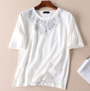 Embroidery Flower Retro Nation Short Sleeve T-shirt