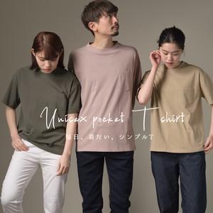 ユニセックス 製品洗い ポケット付無地半袖Tシャツ 2020新作