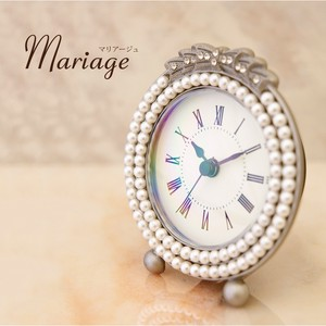 Mariage Table Clock Pearl Ribbon