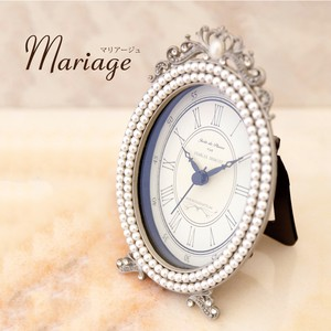 Mariage Table Clock Pearl Oval