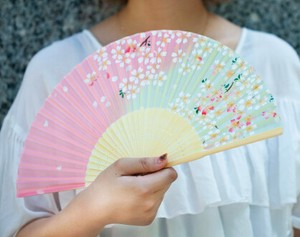 for Women Folding Fan Silk Japanese Pattern