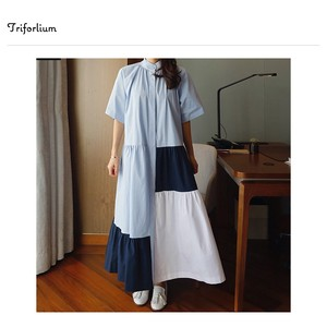 [ 2020NewItem ] Leisurely Silhouette Colorful Switch Shirt One-piece Dress