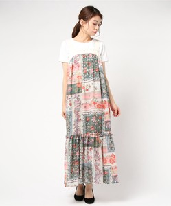Ethnic Patchwork Bag Ribbon Maxi Length One-piece Dress Italy Print Print