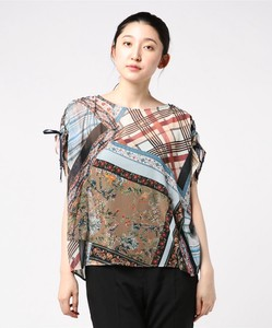 Patchwork Print Print Gather Shoulder Blouse Italy Print Print