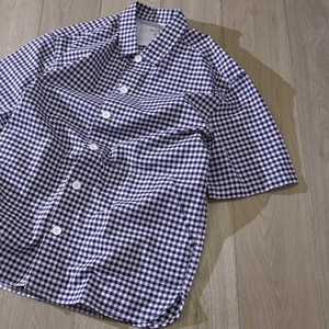 Short Sleeve Regular Color Plain Checkered Cover All Shirt