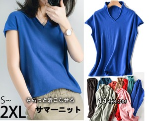Top Short Sleeve Summer Knitted Leisurely V-neck Plain Thin Everyday