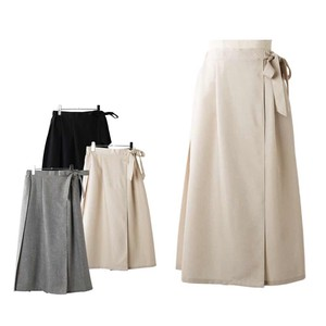 S/S Wrap Waist Ribbon Bag Pleats Long Skirt