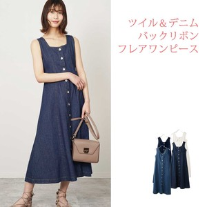 S/S Twill Denim Bag Ribbon Flare One-piece Dress