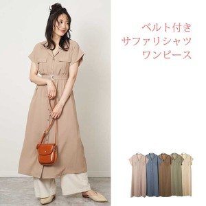 S/S Belt Attached Safari Shirt One-piece Dress