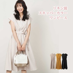 S/S Stand Linen French Sleeve One-piece Dress