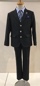 Boy Stripe Button Long Pants Suit Set