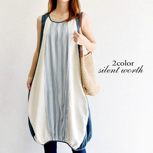 [ 2020NewItem ] Stripe Color Scheme Switching Gather One-piece Dress