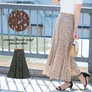 [ 2020NewItem ] Chiffon Oriental Floral Pattern Elase Pleats Long Skirt