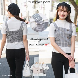 [ 2020NewItem ] Short Sleeve Petit High Neck Ivory Checkered Bustier