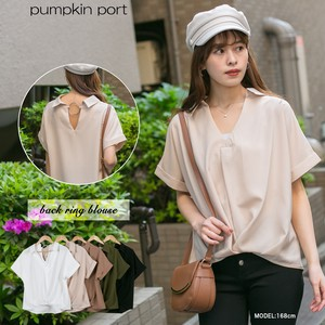 [ 2020NewItem ] Plain Plain-woven Ring Attached V-neck Short Sleeve Blouse