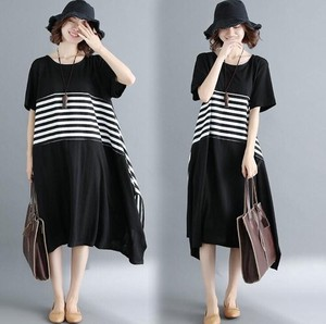 Short Sleeve Pattern Irregularity One-piece Dress