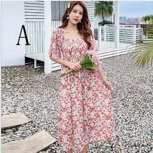 Floral Pattern Floral Square Color Short Sleeve Chiffon Dress