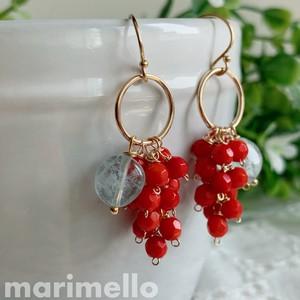 Natural stone Red Coral Aquamarine Pierced Earring