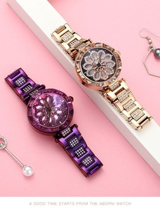 Rotation Clock/Watch Wrist Watch Stainless Belt Purple Quartz Movement