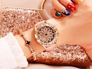 Rotation Clock/Watch Wrist Watch Ladies Belt Pink Quartz Movement