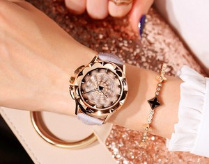 Rotation Clock/Watch Wrist Watch Ladies Belt Gray Quartz Movement