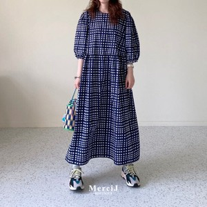 [ 2020NewItem ] Gingham Check One-piece Dress Maxi Length