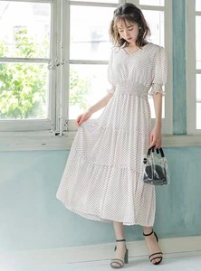 [ 2020NewItem ] Dot Chiffon Short Sleeve One-piece Dress 2 Colors
