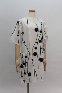 Size L Dot Embroidery Attached Roll Neck Tunic T-shirt