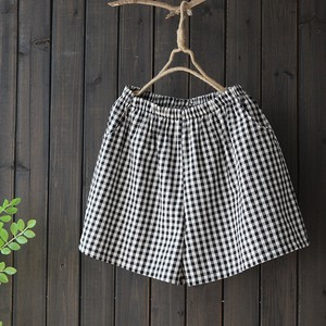 Ladies Fashion Checkered Casual Linen Shorts