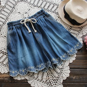 Ladies Fashion S/S Embroidery Denim Shorts