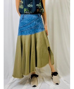 Denim Katsuragi Design Flare Skirt