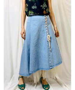 Lace Denim Layard Flare Skirt