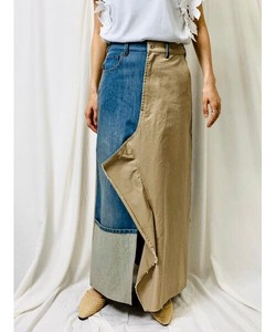Denim Closs Front Frill Long Skirt