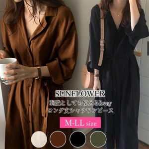 Ladies Korea Blouse Long Sleeve One-piece Dress Plain Casual Commuting