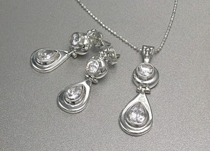 Silver 925 Set Necklace Pierced Earring Cut Ball Chain Clear