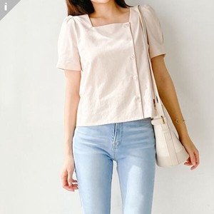 Square Neck Short Sleeve Blouse