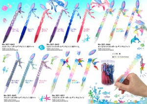 Stationery Dolphin Rainbow Ballpoint Pen 3 Colors Assort