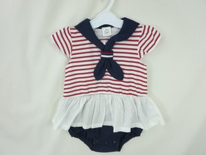 Sailor Frill Lace Border Short Sleeve Rompers