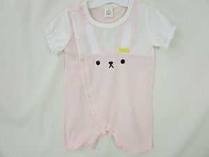Rabbit Applique Ribbon Attached Switching Short Sleeve Combi