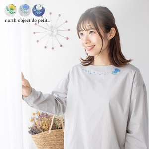 Petit Pullover Flower Neck Around Embroidery Pullover Drop Shoulder 100%