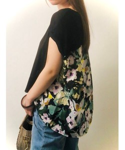 Floral Pattern Print Bag Flare Knitted Pullover Bespoke Print