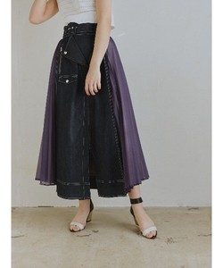 Pleats Rider Design Long Skirt Denim