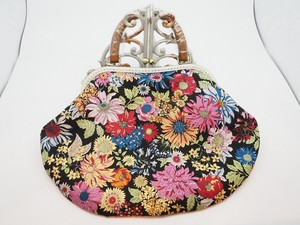 Feeling Coin Purse Bag Base Large Floral Pattern Black
