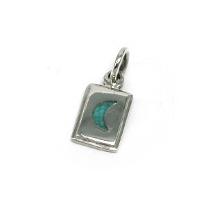 Silver 925 Crescent Moon Turquoise Inlay Work Pendant