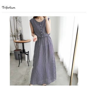 [ 2020NewItem ] 2 Colors Stripe Chiffon Material Sleeveless One-piece Dress