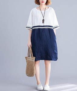 One-piece Dress New Arrival Cotton Linen Short Sleeve One-piece Dress