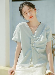 Shirt Blouse New Arrival Irregularity Short Sleeve
