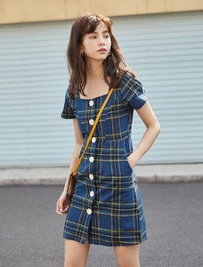 One-piece Dress New Arrival Square Neck Petite Checkered Short Sleeve One-piece Dress