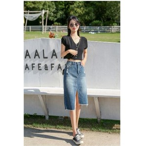 Skirt S/S Denim High-waisted Bag Hip Skirt