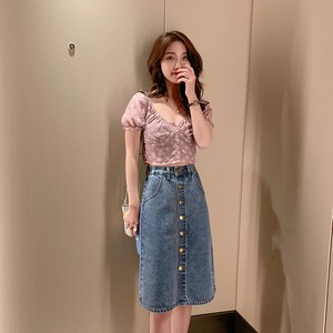 Skirt S/S High-waisted Denim Retro Half Skirt